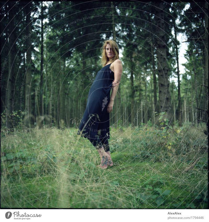 natürlich bekannt schön Erholung Ausflug Junge Frau Jugendliche 30-45 Jahre Erwachsene Natur Landschaft Schönes Wetter Baum Gras Sträucher Wald Kleid Tattoo