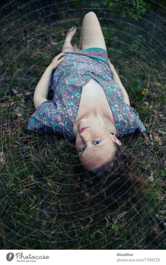 Anblick schön Wohlgefühl Ausflug Abenteuer Junge Frau Jugendliche Körper Gesicht 18-30 Jahre Erwachsene Natur Pflanze Schönes Wetter Moos Wald Kleid Barfuß
