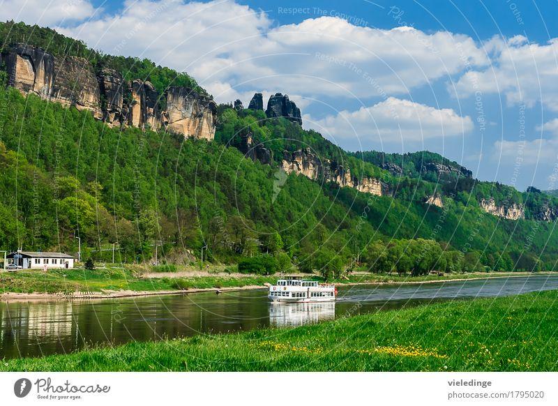 Schrammsteine mit Elbdampfer Ferien & Urlaub & Reisen Tourismus Ausflug Sommer Berge u. Gebirge Natur Landschaft Himmel Wolken Wiese Felsen Fluss
