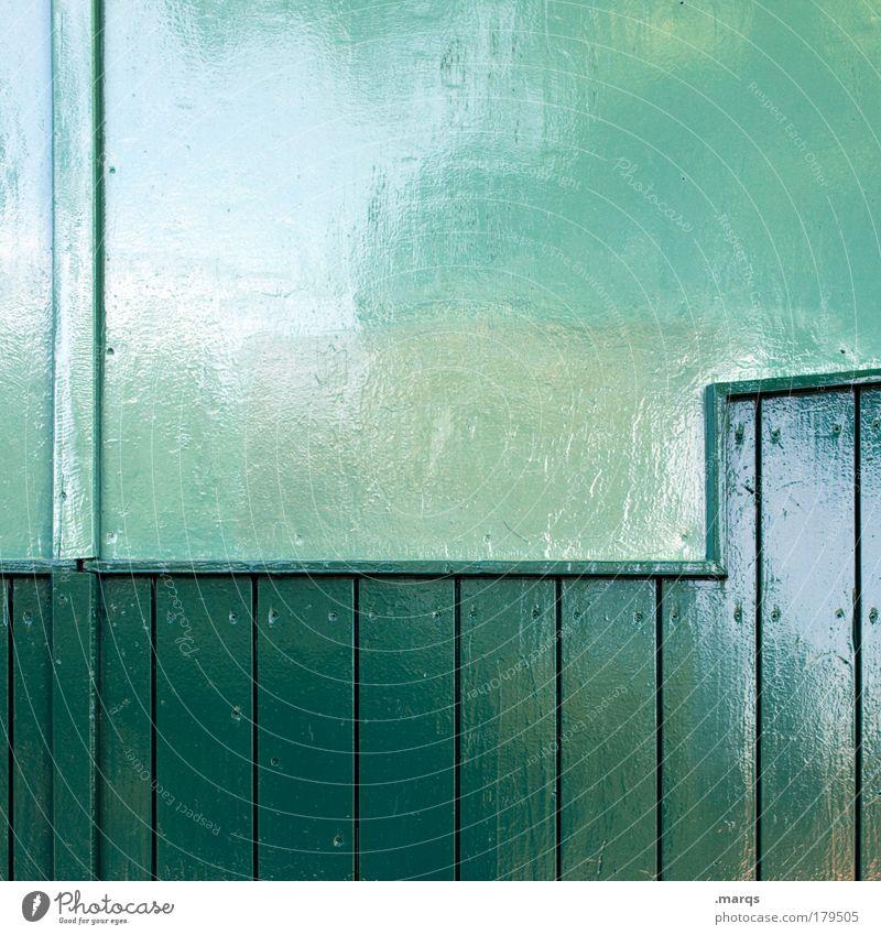 Frisch gestrichen grün Farbe Wand Holz Mauer Linie glänzend Fassade Innenarchitektur Design modern frisch Streifen Häusliches Leben einzigartig Sauberkeit