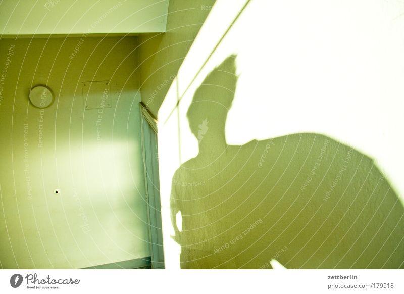 Noch mal Schatten Mensch Mann Haus Lampe Wand Wohnung Tür Treppe Niveau Eingang steigen Flur Geländer Karriere Treppengeländer