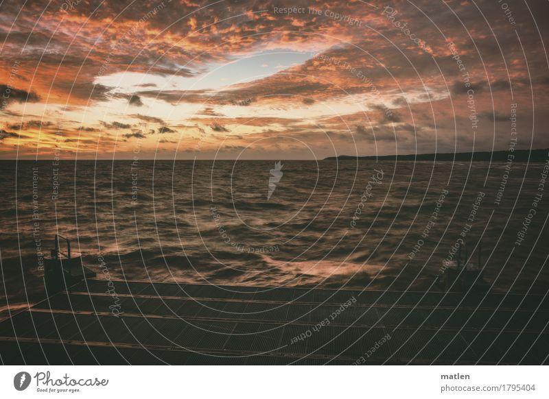 Tageserwachen Natur Landschaft Himmel Wolken Horizont Sonnenaufgang Sonnenuntergang Wetter Wind Wellen Küste Meer blau braun mehrfarbig gelb grau orange rosa