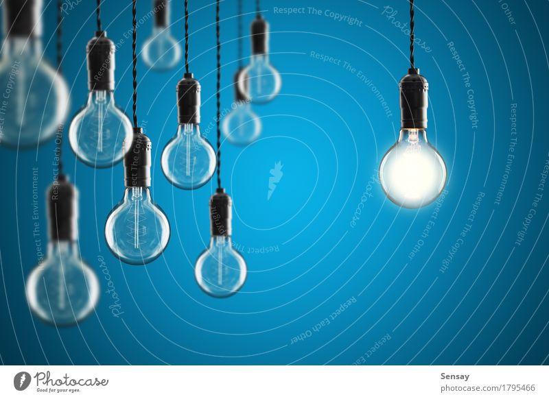 Idee und Führungskonzept Design Lampe Erfolg Wissenschaften Technik & Technologie alt hell blau gelb Energie Farbe Kreativität Hintergrund Knolle Entwurf