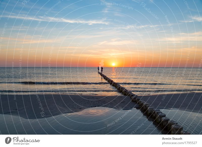 Am Horizont Mensch Natur Ferien & Urlaub & Reisen Meer Erholung ruhig Freude Ferne Strand Leben Lifestyle Stil Familie & Verwandtschaft Glück Freiheit Paar