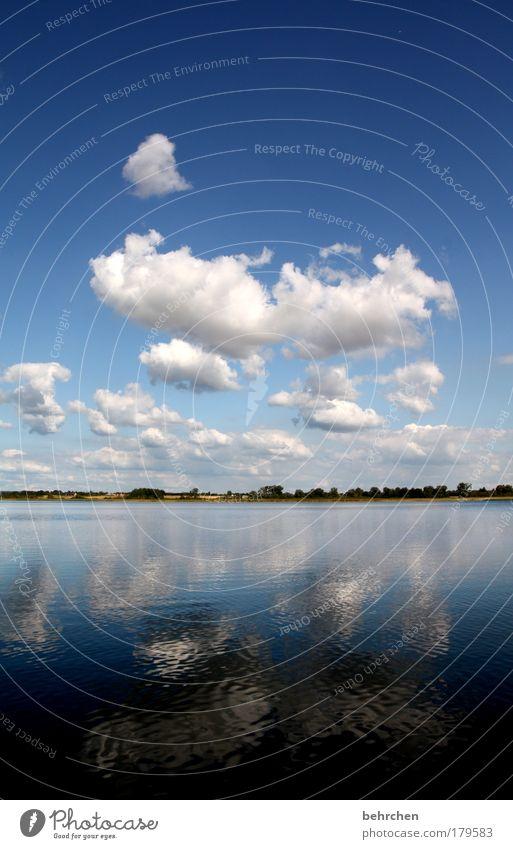 kalina kochana Farbfoto Außenaufnahme Menschenleer Textfreiraum oben Textfreiraum unten Reflexion & Spiegelung Ausflug Ferne Freiheit Wasser Himmel Wolken