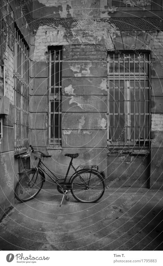 Hinterhof Berlin Prenzlauer Berg Stadt Hauptstadt Stadtzentrum Altstadt Haus Fenster Verfall Vergangenheit Vergänglichkeit Fahrrad Gitter Hof Schwarzweißfoto