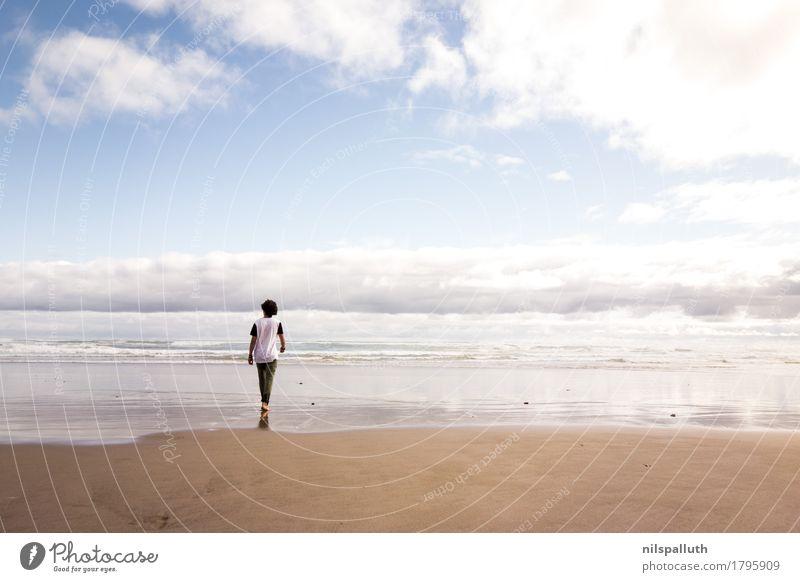 Waipoua Beach Mensch Himmel Natur Ferien & Urlaub & Reisen Jugendliche Sommer Wasser Junger Mann Meer Landschaft Wolken ruhig Ferne Strand 18-30 Jahre
