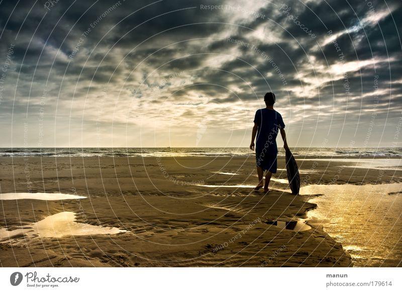 Am Ende des Sommers II Ferien & Urlaub & Reisen Ferne Freiheit Sommerurlaub Strand Wassersport Surfer Junger Mann Jugendliche Kindheit Leben Herbst Küste Meer