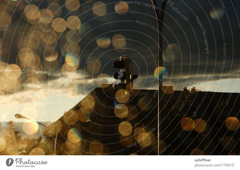 Ampel Sonne Haus Wolken Regen Gegenlicht Wetter gold Dach Laterne Lichtspiel Lichtpunkt Laternenpfahl Lichteinfall