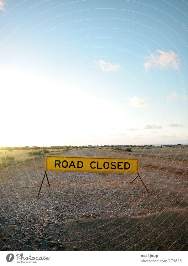 Der Weg ist das Ziel ... Himmel Ferien & Urlaub & Reisen Einsamkeit gelb Ferne Freiheit Landschaft frei Horizont Hoffnung Abenteuer fahren stoppen Unendlichkeit Neugier Australien