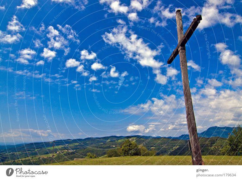 Das Land ist eine weite Seele Landschaft Himmel Wolken Sommer Hügel Zeichen Kreuz Erholung Unendlichkeit Stimmung Kraft Gelassenheit Glaube Religion & Glaube