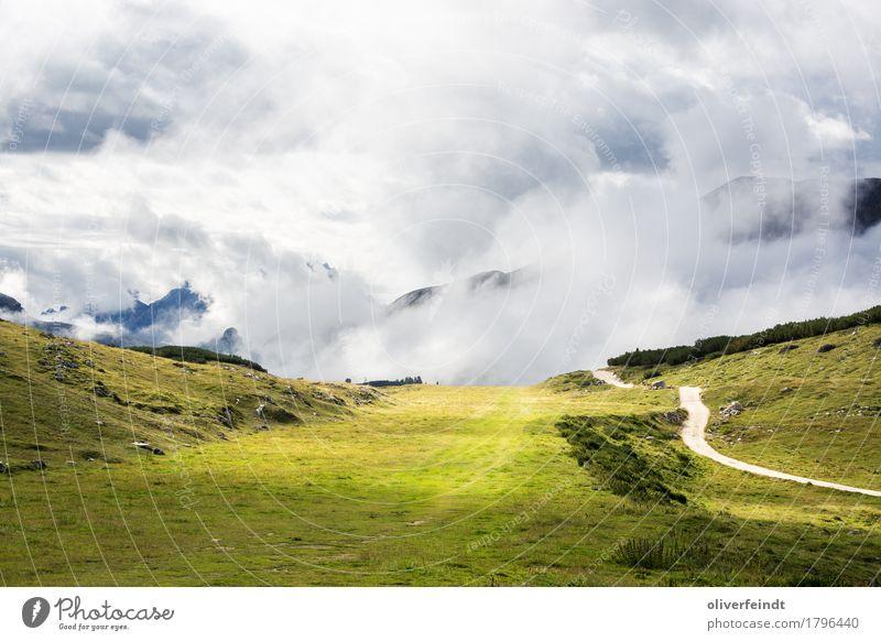 Dolomiten IV Himmel Natur Ferien & Urlaub & Reisen schön grün Landschaft Wolken Ferne Berge u. Gebirge Umwelt Wege & Pfade Wiese Gras Freiheit Felsen Horizont