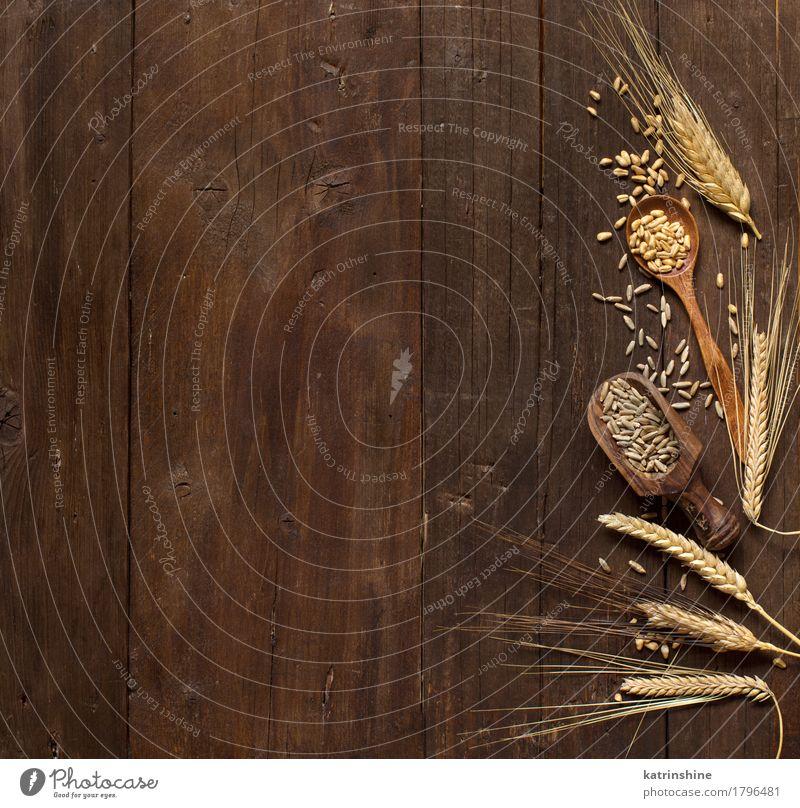 Weizen und Dinkel Hintergrund Getreide schön Sommer Natur Pflanze Holz Wachstum frisch natürlich braun gelb Ackerbau Gerste Beautyfotografie Müsli Ohr Bauernhof