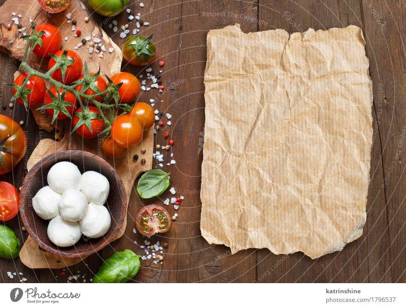 Italienische Küche ingridients grün rot natürlich braun hell frisch Papier Kräuter & Gewürze Gemüse Brot Schalen & Schüsseln Flasche Mahlzeit