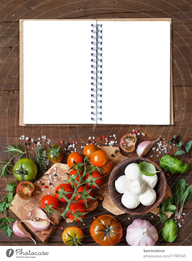 Italienische Küche ingridients grün rot braun hell frisch Papier Kräuter & Gewürze Gemüse Brot Schalen & Schüsseln Mahlzeit Vegetarische Ernährung Diät