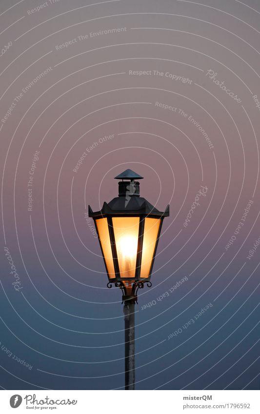 Licht... dunkel Kunst Lampe hell leuchten ästhetisch Italien Romantik erleuchten Laterne mediterran Abenddämmerung Lichtspiel Lichtschein Laternenpfahl