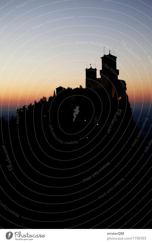 Ins Dunkle... alt dunkel Berge u. Gebirge Kunst oben Idylle ästhetisch Spitze Italien Romantik historisch Turm Burg oder Schloss Sehenswürdigkeit Urlaubsfoto