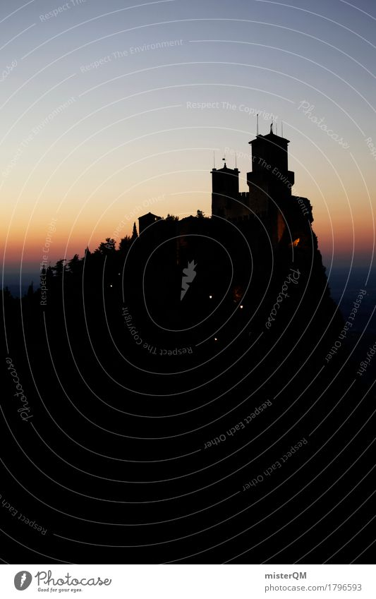 Ins Dunkle... Kunst ästhetisch San Marino Italien Nacht dunkel Silhouette Burg oder Schloss Burgruine Burgturm Burgpalast Turm wehrhaft alt historisch