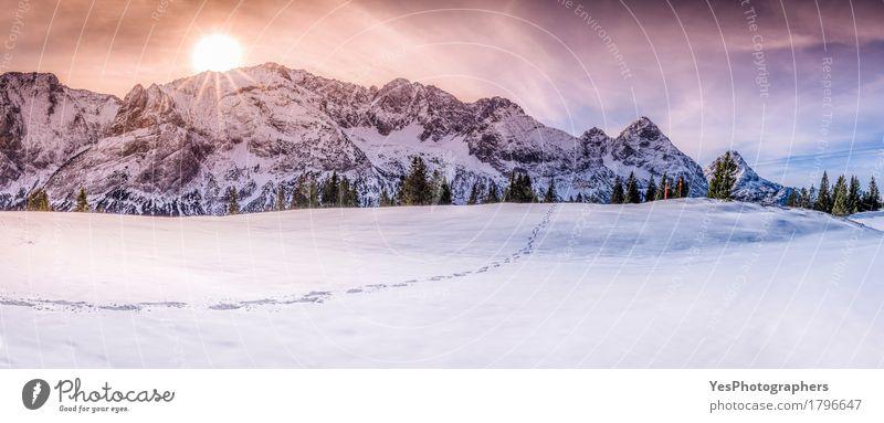 Berggipfel mit Spuren auf Schnee Himmel Natur Ferien & Urlaub & Reisen Farbe weiß Sonne Landschaft Winter Berge u. Gebirge Wege & Pfade Tourismus Horizont Eis