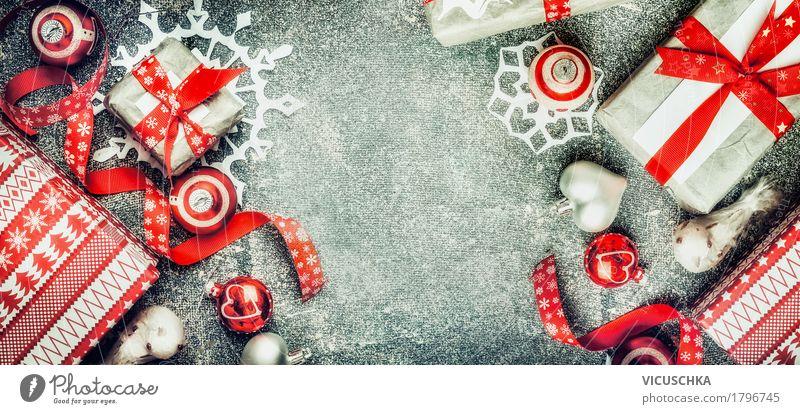 Weihnachten Hintergrund mit Geschenken und Schneeflocken Weihnachten & Advent Freude Winter Stil Feste & Feiern Stimmung Design Dekoration & Verzierung