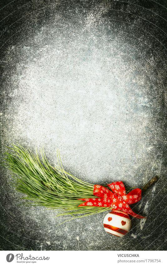 Weihnachten Hintergrund mit roten Schleife, Kugel und Kiefer Weihnachten & Advent Freude Hintergrundbild Stil Feste & Feiern Design Dekoration & Verzierung retro Postkarte Zweig Kugel Tradition altehrwürdig Kiefer Christbaumkugel Schleife