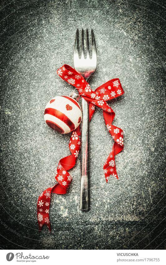Gabel mit Weihnachtsdeko Ernährung Festessen Geschirr Stil Design Winter Dekoration & Verzierung Tisch Party Veranstaltung Restaurant Feste & Feiern