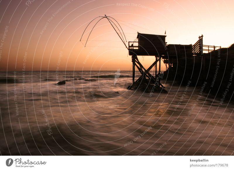 wenn das wasser weich wird Farbfoto Außenaufnahme Dämmerung Langzeitbelichtung Totale Ferien & Urlaub & Reisen Sommerurlaub Meer Wasser Wolkenloser Himmel