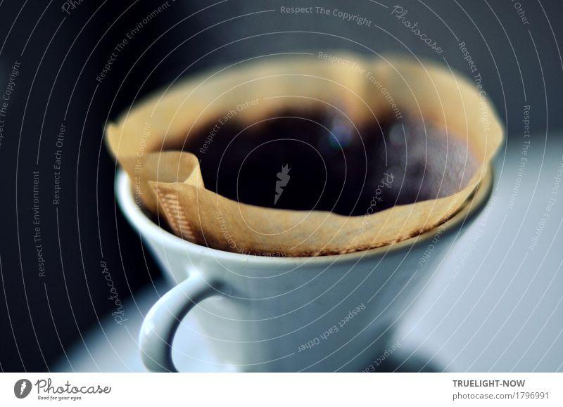 Morgenduft wittern... weiß Freude Leben Lifestyle Glück Lebensmittel grau braun Wohnung Raum Häusliches Leben frisch Beginn Tisch Energie Sauberkeit