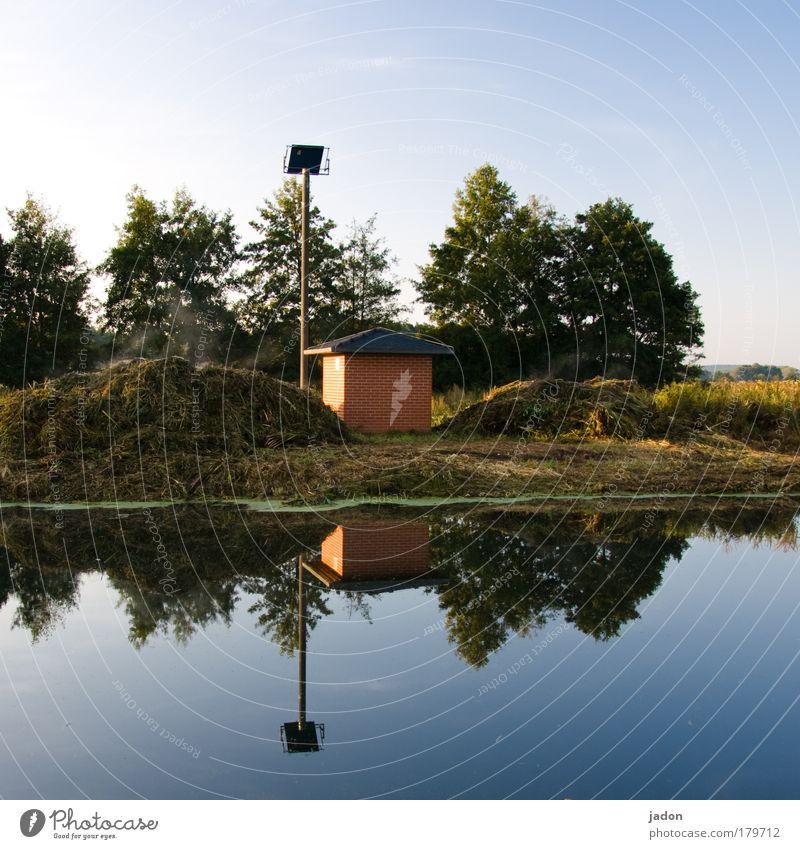 Solarenergie Wasser ruhig Wärme Landschaft Zufriedenheit Feld Erde Fluss Warmherzigkeit Idylle Laterne Flussufer Antenne Biologie Leuchter regenerativ