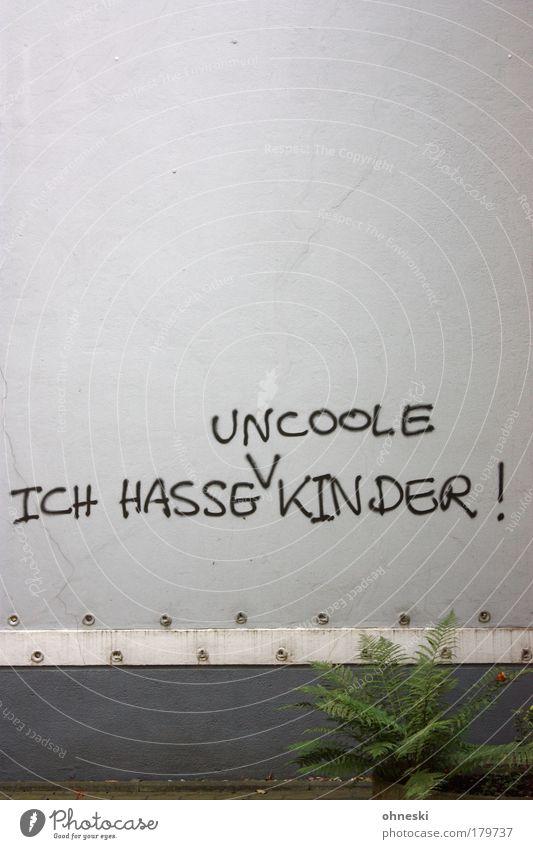 Korrektur Pflanze Haus Wand Mauer Graffiti Fassade trist Sträucher Wut Kindheit Ärger Farn Einfamilienhaus Muttertag Aussage