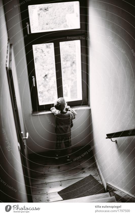 Hallo Welt. Häusliches Leben Kind Junge Kindheit 1 Mensch 3-8 Jahre Haus Treppe beobachten Blick warten dunkel ruhig Neugier Interesse Sehnsucht Heimweh Fernweh