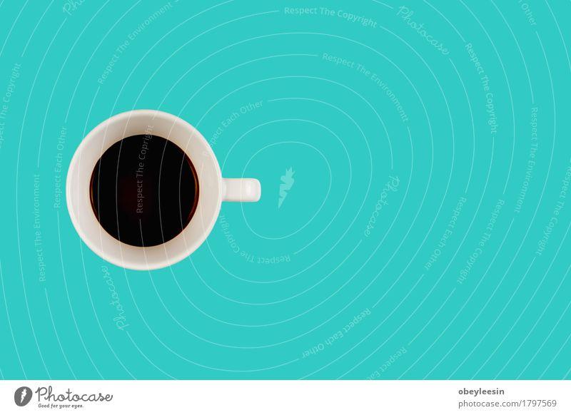 Kaffeepause Getränk Latte Macchiato Espresso Lifestyle Stil Design Arbeitsplatz Büro Kunst heiß blau Fröhlichkeit Coolness Business Freude Frieden