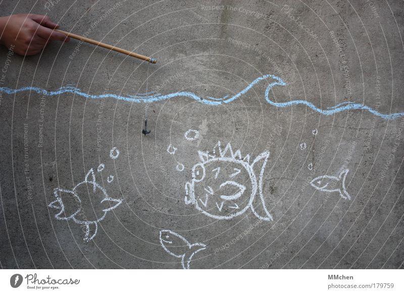 FischersFritz Wasser Meer kalt Wand See Beton frisch tauchen zeichnen Mensch malen Aquarium Angeln Erfrischung