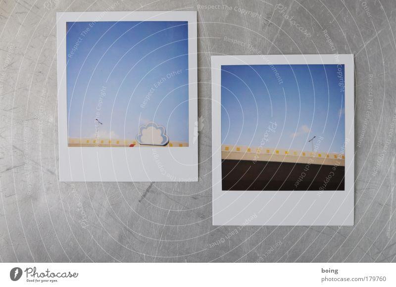 Integralfilmbilder Polaroid Straße Wand Architektur Mauer Gebäude Beton Brücke Bauwerk Laterne Verkehrswege Nervosität Straßenverkehr Ornament Aluminium Sprechblase