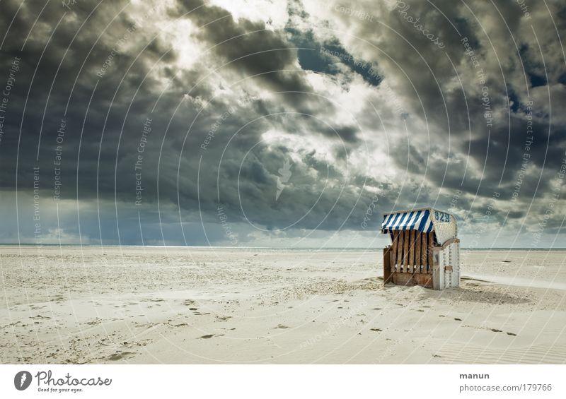 Sommerschluss Natur Wasser Meer Strand Ferien & Urlaub & Reisen ruhig Wolken Einsamkeit Ferne Erholung Herbst Sand Regen Landschaft Küste