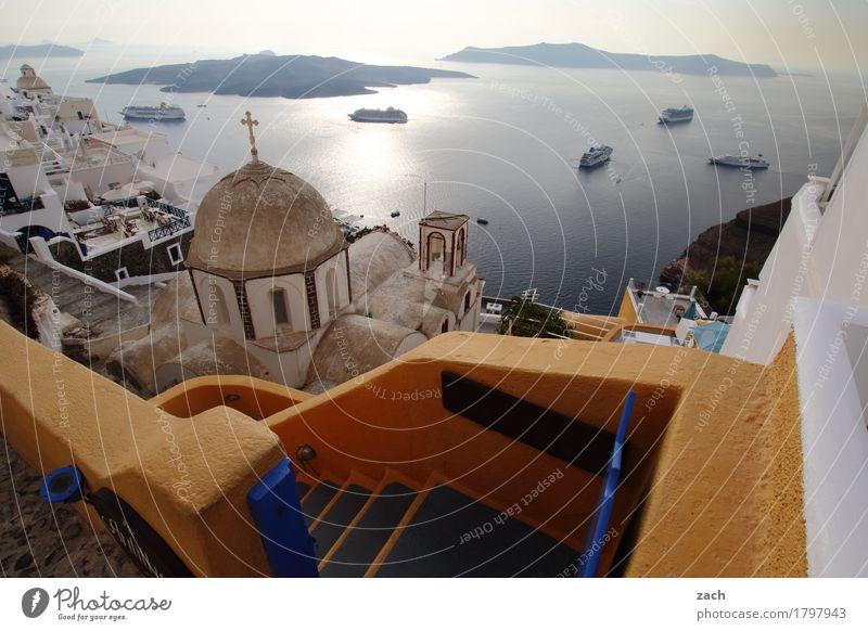 mit Überblick Himmel Schönes Wetter Meer Mittelmeer Ägäis Insel Kykladen Santorin Caldera Wasserfahrzeug Kreuzfahrtschiff Thira Griechenland Kleinstadt