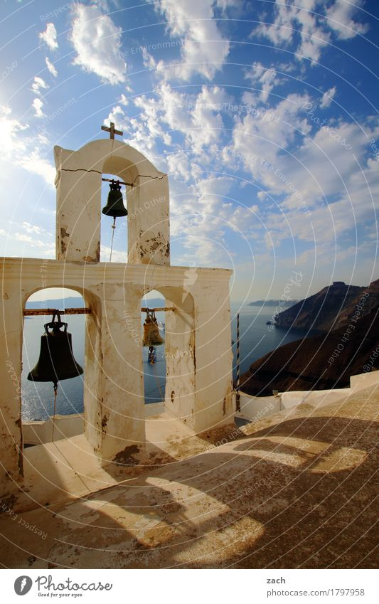 Ding anne Glocke Ferien & Urlaub & Reisen Himmel Wolken Schönes Wetter Felsen Vulkan Meer Mittelmeer Ägäis Insel Santorin Thira Griechenland Kykladen Dorf