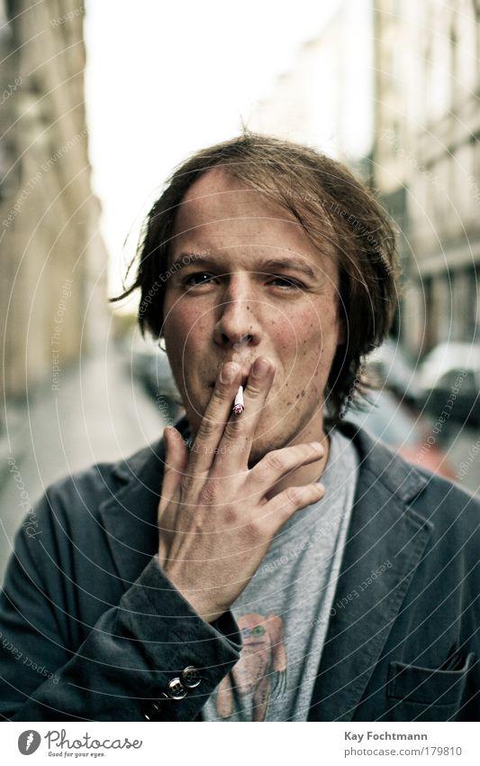 suicidal Mensch Jugendliche Hand Sommer Gesicht Haare & Frisuren maskulin Rauchen Porträt