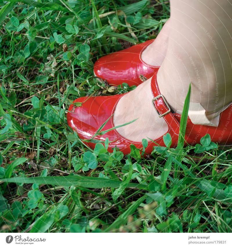 the wicked witch Farbfoto Außenaufnahme Textfreiraum links Stil feminin Fuß 1 Mensch Sommer Gras Garten Park Wiese Schuhe hocken sitzen glänzend grün rot