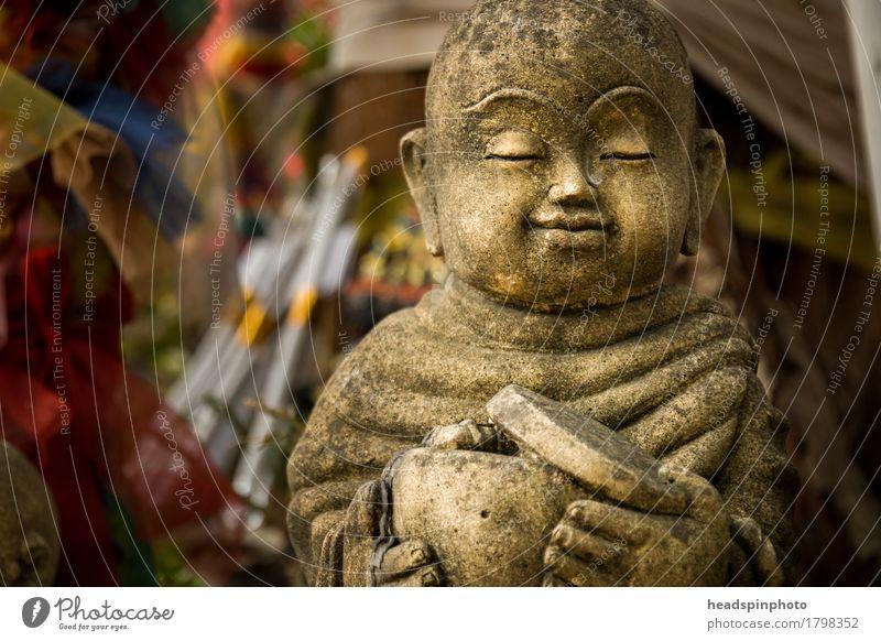 Monk Statue Ferien & Urlaub & Reisen Tourismus Chiangmai Thailand Tempel achtsam Buddha Buddha Statue Mönch Religion & Glaube Bettler Stein Meditation Gebet