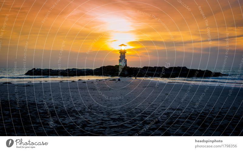 Solar Sunset Ferien & Urlaub & Reisen Tourismus Sommerurlaub Strand Meer Natur Landschaft Khao Lak Thailand Stimmung ruhig Sonnenuntergang Leuchtturm