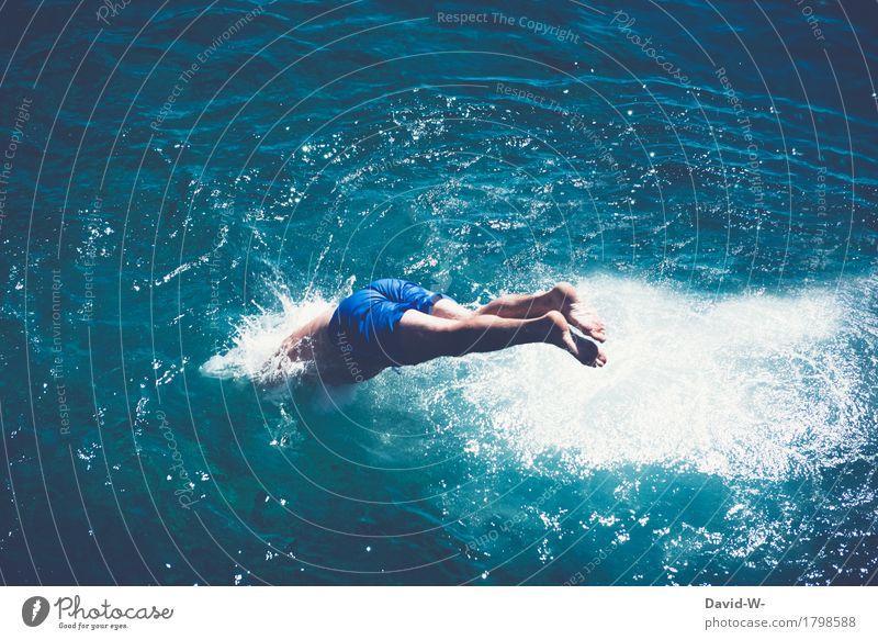 eintauchen Mensch Ferien & Urlaub & Reisen Jugendliche Mann blau Sommer Wasser Sonne Junger Mann Meer Freude Erwachsene Leben Beine Freiheit Fuß