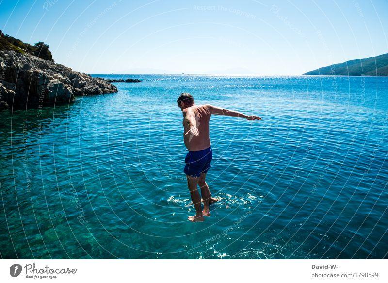 noch eine Sekunde Mensch Ferien & Urlaub & Reisen Jugendliche Mann Sommer Sonne Junger Mann Meer Freude Ferne Erwachsene Leben Freiheit fliegen Tourismus