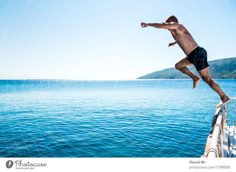 Athlet Mensch Ferien & Urlaub & Reisen Jugendliche Mann blau Sommer Wasser Junger Mann Meer Erotik Freude Erwachsene Leben Gesundheit außergewöhnlich