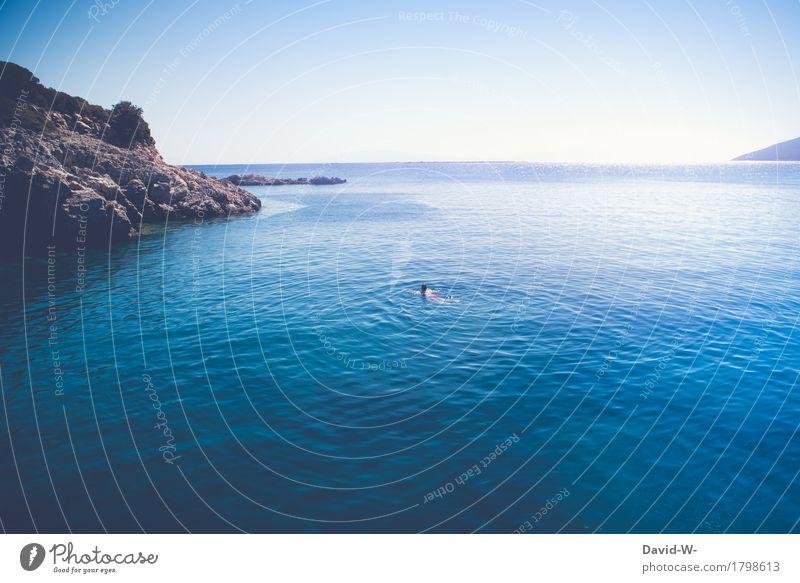 Schwimmer sportlich Fitness Ferien & Urlaub & Reisen Tourismus Ausflug Abenteuer Ferne Freiheit Sommer Sommerurlaub Sonne Meer Wellen Wassersport