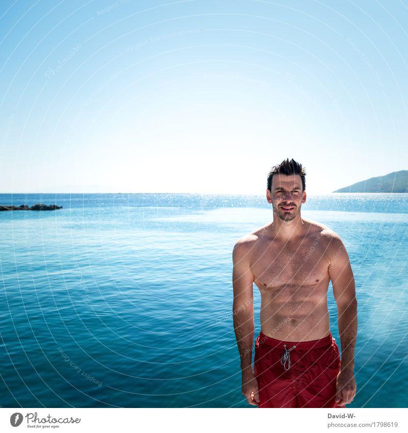 rot und blau Ferien & Urlaub & Reisen Tourismus Ausflug Abenteuer Ferne Freiheit Sommer Sommerurlaub Sonne Sonnenbad Meer Fitness Sport-Training