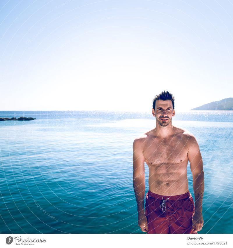 der perfekte Ort Mensch Natur Ferien & Urlaub & Reisen Jugendliche Mann nackt Sommer schön Junger Mann Meer Landschaft Erotik Strand Erwachsene Leben Sport