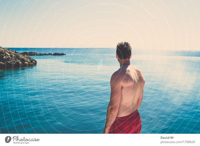 Mann & Meer Leben harmonisch Wohlgefühl Zufriedenheit Ferien & Urlaub & Reisen Tourismus Ausflug Ferne Sommer Sommerurlaub Mensch maskulin Junger Mann