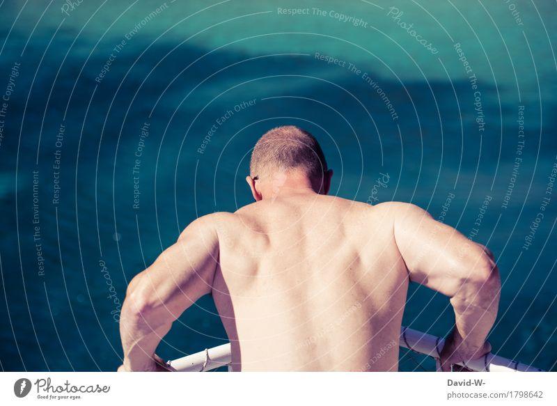 Muskeln Mensch Natur Ferien & Urlaub & Reisen Jugendliche Mann Sommer Wasser Sonne Junger Mann Meer Erotik Erwachsene Umwelt Leben Sport Schwimmen & Baden