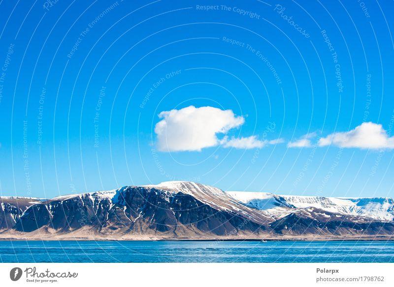 Berg im isländischen Ozean Himmel Natur Ferien & Urlaub & Reisen blau Sommer schön Meer Landschaft Wolken Berge u. Gebirge natürlich Küste Schnee Felsen
